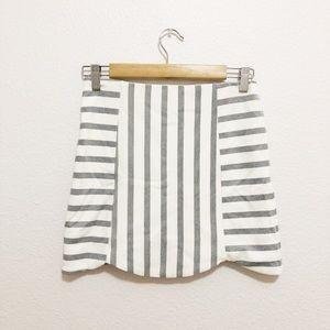 Topshop Stripe Scallop Mini Skirt